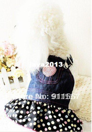 Wholesale Black Dog Jeans - Free shipping Hot Fashion Pet Dog Lace Heart Apparel Clothes Lovely Costume Jeans Dog Dress Skirt #H0020