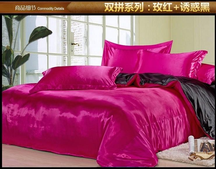 Black And Hot Pink Silk Satin Bedding Comforter Set King Queen Full