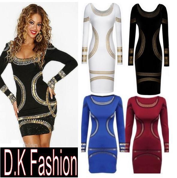 new clelb sexy bodycon dress ladies kim kardashian celebrity foil
