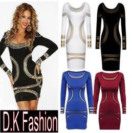 Wholesale Kardashian Celebrity - NEW CLELB sexy Bodycon dress Ladies Kim Kardashian Celebrity Foil Print Womens Short Mini party club Dress S-XXL Plus size free shipping