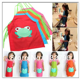 Wholesale Sleeveless Aprons - Cute Children Waterproof Apron Cartoon Frog Printed Painting Cooking Bibs Sleeveless Aprons 5 Colors