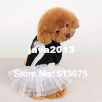 Wholesale Dress Size Small Free Shipping - Free Shipping S M L XL sizes Little Swan dogs skirt dog clothes pet swan skirts puppy clothes dog dress pet pink red black