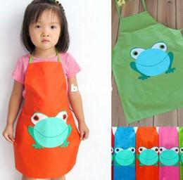 Wholesale Childrens Paintings - 5pcs Wholesale Cult Frog Printe Kids Childrens Cartoon Cooking Art Painting Smock Apron[YB025*5]