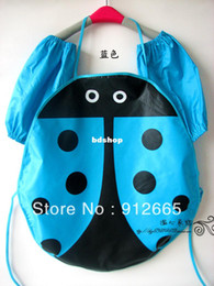 Wholesale Ladybug Aprons - Ladybug style waterproof children apron oversleeve 2pcs sets kid's pinafore eating bibs painting clothes 3-8years