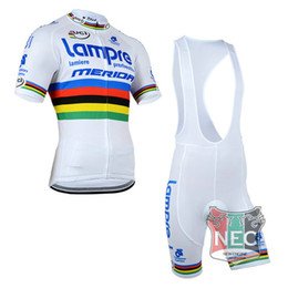 Wholesale Uci Bib Cycling - Men's Hot Sell Short Sleeve Cycling BIB Suit LAMPRE WHITE UCI Jersey+ BIB Shorts Plus Size maillot with Gel pad Bike jersey