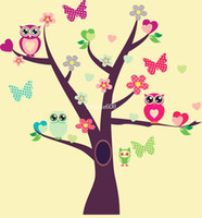 Wholesale Tree Decals For Kids Rooms - Owls Bird Tree Wall Sticker DIY Removable Vinyl Decal for Kids Nursery LXL