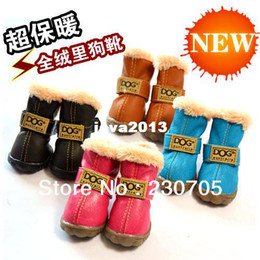 Wholesale Leather Dog Boots - 4pcs Lot High Grade PU Leather Casual Pet Puppy Dog Winter Snow Warm Boot Shoes,Waterproof Anti-skidding Dog Shoes Free shipping