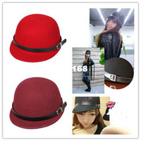 Wholesale Men Stylish Wool Hats - Stylish Cool Men Women's Autum Winter Equestrian Cashmere Fedora Hat Warm Woolen Cap Retro Topper 3 Color DOV Free Shipping