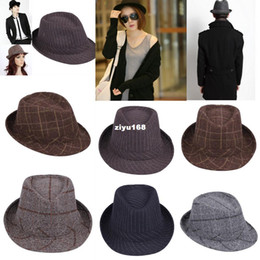 Wholesale Ladies Hats Bags Wholesale - 5pcs bag Multicolor Chic Mens Ladies Unisex Plaid Stripe Fedora Hat Gangster Jazz Cap Classic Brim Trilby DLY Free Shipping