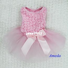 Wholesale Rosette Dress Tutu - Light Pink Rosettes Elegant Rose Wedding Tutu Small Dog Clothes Party Dress XS-L