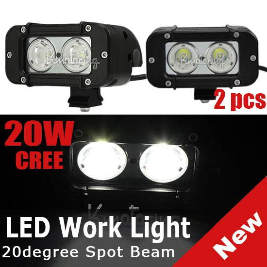 "2PCS 5"" 20W CREE 2LED*(10W) Work Light Mini Bar Off-Road SUV ATV 4WD 4x4 Spot / Flood Beam 1720lm IP68 9-70V Driving JEEP Truck Fog Headlamp"