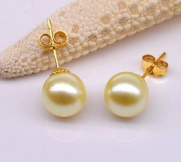 Wholesale Gold South Sea Pearl - Hot Ms. 8-9 mm natural south seas gold pearl earrings 14k gold