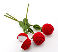 Wholesale 12pcs Red Rose Flower Velveteen Rings Jewelry Display Box x5cm