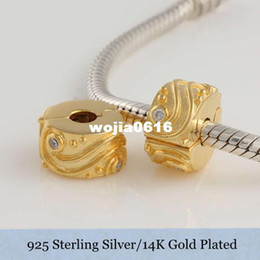 Clip Charms Free Shipping Australia - Authentic 925 Sterling Silver 14K Gold Plated Charms Beads Clip Fits Style Bracelet   Necklace Free shipping KT020C