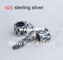 cap silver chain Promo Codes - Authentic 925 Sterling Silver Safety Chain Charms Beads Fits European Style Bracelet   Necklace Free shipping SF002