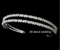 Wholesale Clear Headbands - Crystal Rhinestone Double Row Bridal Headband Prom Graduation Party Shinny Cool Hairband Bridal Accessory Hair Jewellry