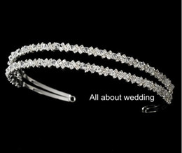 Wholesale Coolest Party Accessories - Crystal Rhinestone Double Row Bridal Headband Prom Graduation Party Shinny Cool Hairband Bridal Accessory Hair Jewellry
