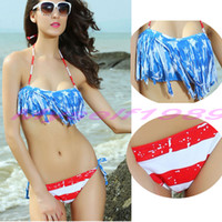 2017 Fashion Sexy Women's Swimwear Beachwear Американский флаг Bikini Tassel Push Up Бразильский Fringed Bikinis Swimsuit Blue Купальные костюмы