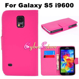 Wholesale S4 Flip Covers - For Galaxy S5 S4 S3 Case Plain PU Wallet Leather Case Flip Photo Frame Cover + Credit Card Slots Pouch Stand