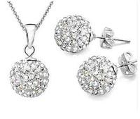 ювелирные изделия из серебряной палочки оптовых-SMS06 Sales Items Silver 10MM Crystal  Stick Earrings Necklace Jewelry Sets 12 Colors Wholesale Free Shipping