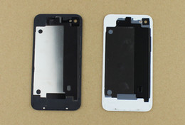 Wholesale Iphone4 Parts - black white for iphone4 4S GSM cdma back glass battery cover housing door replacement parts Free Shipping