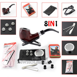 Wholesale Tin Box Ball - 8 in 1 3-1 Cleaning Tool +Net Mesh Ball+80pcs Pipe Cleaners+Stand Holder ++Wooden Smoking Pipe +Cool Box Tin+Cigar Humidifier
