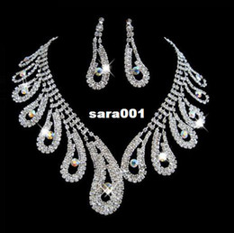 Wholesale Chinese Rhinestone Bracelet - A006 Chinese Style Peacock Tail Designs Crystal Rhinestone Necklace Earrings Fashion Jewelry Sets Party Wedding Accessories B18