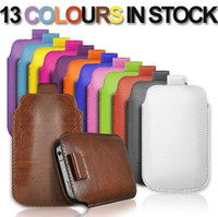 Wholesale Pull Leather Case For S3 - PULL UP Cord TAB PU LEATHER POUCH Pocket COVER CASE for Iphone 4S 5S 5C Samsung galaxy S3 i9300 S4 i9500 s5 i9600 Pull up tab case mix color