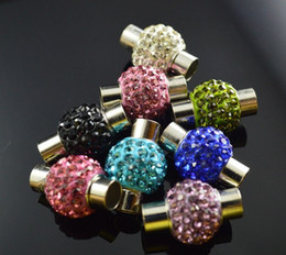 Wholesale Magnetic Bracelet Clasps 5mm - Mixed color Crystal Shamballa Disco Ball Magnetic Clasp with Inner hole size 5mm silver stone Bracelet Necklace Jewelry Clasps