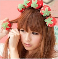 Wholesale Strawberry Fabric Wholesale - EMS Free Shipping 2000pcs Woman Magic Spong Ball DIY Styling Hair Roller Soft Curlers Strawberry Balle