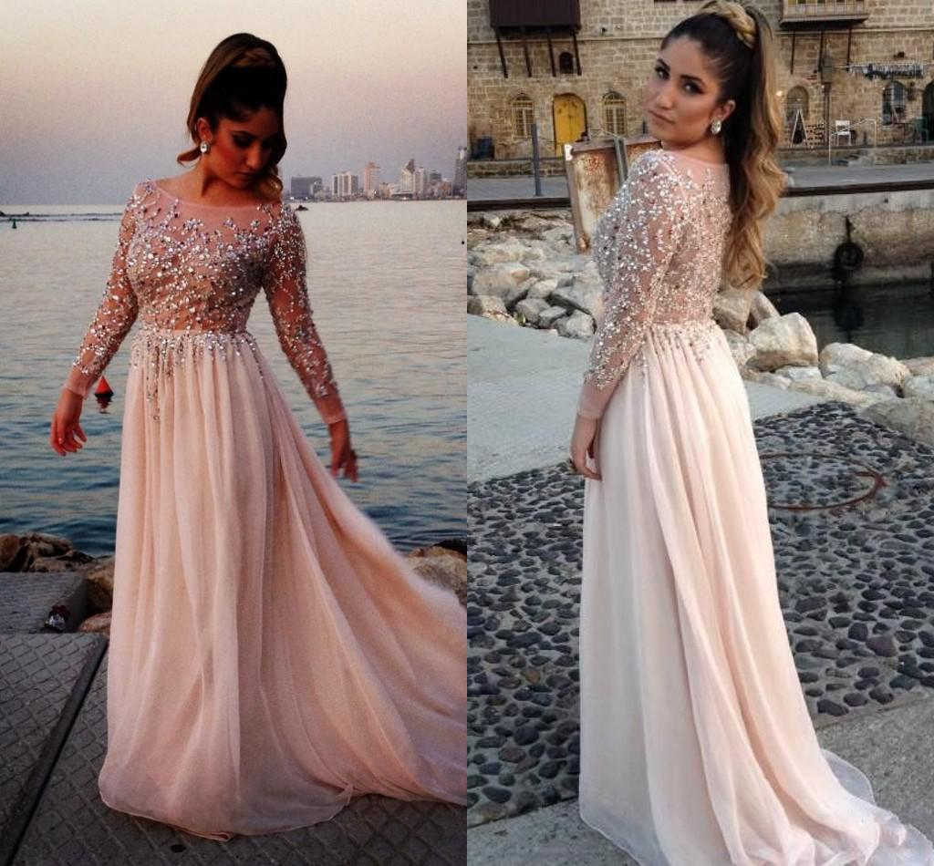 2014 Oscar Elie Saab Sexy Long Sleeve Prom Dresses Sheer ...