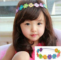 Wholesale Top Baby Hat Band - TOP BABY flower Bouquet HEADBAND hat colorful sunflowers ribbon cap hair band girls head wrap 10pcs lot