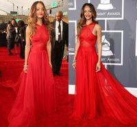 Wholesale Celebrity Oscar Gowns - 2014 Oscar Sexy Celebrity Red Carpet Dresses Crew Neckline A Line Chiffon Prom Dresses Evening Gowns Cheap Long Graduation Dresses Sexy