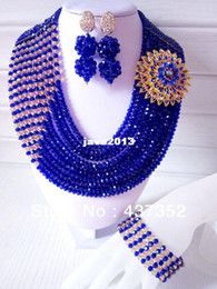 Wholesale Royal Blue Flower Earrings - New Design Royal Blue Multistrand Nigerian Wedding Jewelry Set With Rhine Flower Women African Beads Jewelry Set CPS-055