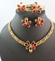 ingrosso collana di conchiglie nuziale-Set di gioielli da sposa in oro 18 carati placcati in oro con fiore rosso