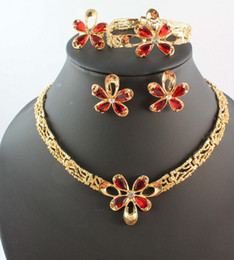 Wholesale Jade Mother Bracelet - 18K Gold Plated Red Flower Fashion Wedding Necklace Bridal Jewelry Sets