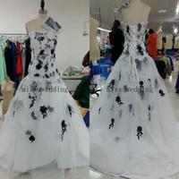 Wholesale Dress Wedding Aplique - 2014 stylish Strapless Sheath A line Court train Organza Bandage White and black Bridal gowns Lace Aplique Wedding dresses