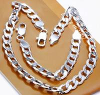 925 armbänder 12mm großhandel-Freies Verschiffen 925 Silber 12MM Breite Figaro-Kettenmänner ketten schwere Halskette und Armbandgroßhandelsschmucksachesatz
