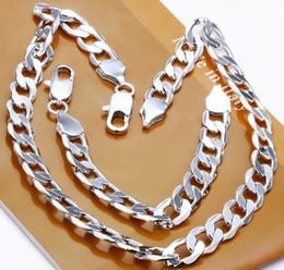 Frete grátis 925 prata 12MM Largura Figaro Cadeia homens cadeia pesada colar e pulseira atacado conjunto de jóias de