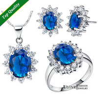 Wholesale Titanic Ring Set - Blue Ocean Heart Titanic 925 Sterling Silver Jewelry Sets for Women Necklace Earrings Rings Wedding Jewelry Sets T466