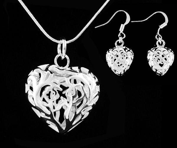 925 Silver plated Stereo Hollow Heart Pendant Necklace Set, silver necklace chain & earrings,Fashion jewelry