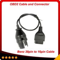 Wholesale Mercedes Obd2 Tool - Top selling 38Pin to 16Pin OBD2 OBDII Female Adapter Connector Cable for Mercedes Benz diagnostic tools free shipping