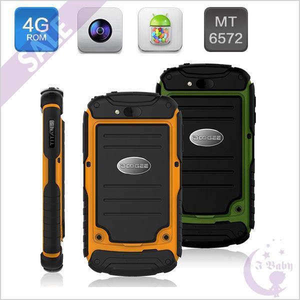 DOOGEE DG150 IP67 Waterproof Shockproof Dustproof 3-Anti Dual Core MTK6572w 1.2GHz 512MB/4GB Android 4.2 3G WCDMA Dual Sim Card Smart Phone