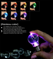 Wholesale Globe Rings - New Colorful LED Bulb Pendents Rainbow LED Light Bulb Key Chain Color Change Lamp Globe Ring Lantern Decoration Romantic Lover Bulb Necklace