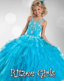Argentina 2015 azul vestidos de desfile para niñas de longitud larga niñas vestidos de desfile vestido de bola vestidos de niña de flores para la boda vestidos de cupcake supplier little girls blue ball gowns Suministro
