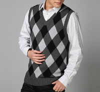 Men blue argyle sweater - NEW Men s Fashion V neck argyle plaid knit Sweater vest Business Vest