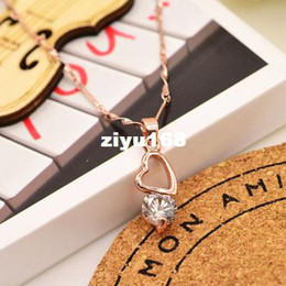 Wholesale Rose Zircon Necklace - New Fashion jewelry rose gold plated zircon heart drop necklace for women girl lovers' gift N1218