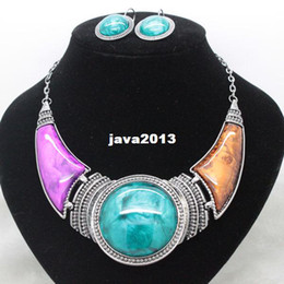 Wholesale Chunky Costume Jewelry - newest 2014 party wedding colorful chunky jewelry sets fancy costume necklace and earrings sets for women free shipping