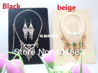 Wholesale Earring Pendant Display Cards - 20 Jewelry Set Display Cards Earring Necklace Ring Pendant Display Cards Cream   Black w  OPP Plastic Bag