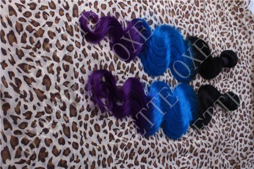Oxette dip dye Blue purple Ombre 100% Human Hair 5A Peruvian Virgin Hair Extensions weave weft 12-30inch body wave 3 or 4 bundles